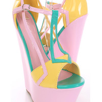 Yellow Patent Faux Leather Strappy Colorblock Wedges