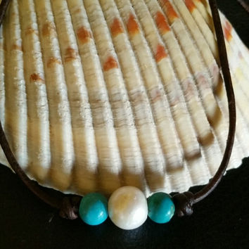 Freshwater Pearl and Genuine Turquoise Choker/Necklace on Leather