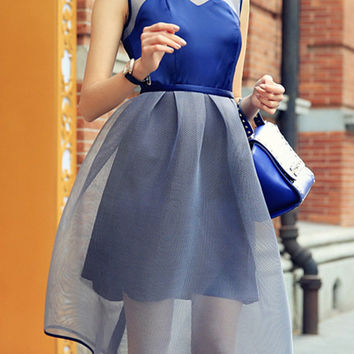Blue Sleeveless White Mesh Overlay Casual Dress