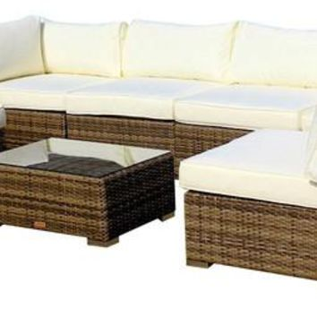 2017 All Weather Outdoor Wicker Sectional 7-Piece Resin Couch Set
