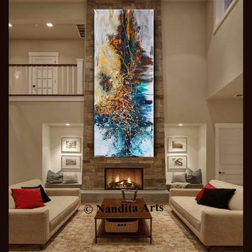 OIL PAINTING, Abstract Modern Art Blue Gold Original Painting Abstract Art on Canvas Large Wall Art Living Room Decor by Contemporary Art