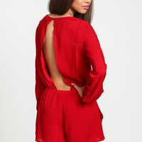 Red Backless Woven Romper
