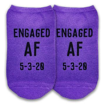 Engaged AF Personalized Socks Custom Printed with a Date - Ladies No Show Socks