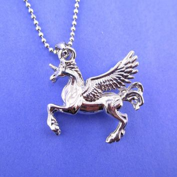 Unicorn with Wings Pegasus Shaped Pendant Necklace in Silver | Animal Jewelry