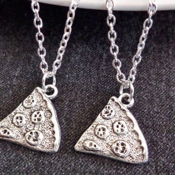 Set of 2 pizza Necklaces, Best friends necklaces, sisters necklaces, Boyfriend Girlfriend necklace, silver necklaces, Christmas Gift