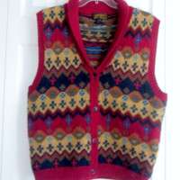 Vintage Fair Isle Vest , Sleeveless Wool Sweater Vest, Womens Medium M  Shawl Collar Button Up Heavy Knit Winter Vest Maroon, Green Tan