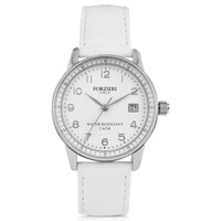 Forzieri Designer Women's Watches Discovery Lady Silver Tone Stainless Steel Case and Genuine Leather Strap Women's Watch
