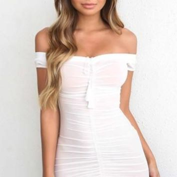 Leave Me Breathless White Sheer Mesh Off The Shoulder Ruched Bodycon Tassel Mini Dress  - Back in Stock!