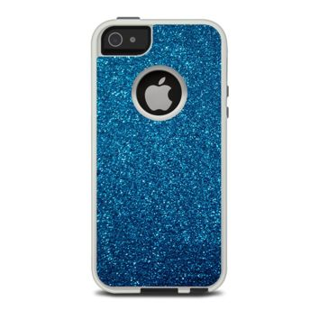 The Blue Sparkly Glitter Ultra Metallic Apple iPhone 5-5s Otterbox Commuter Case Skin Set