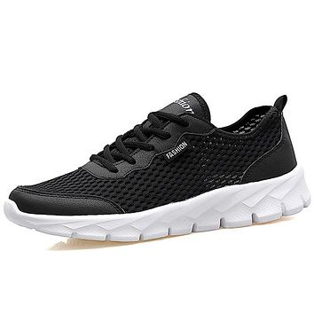 Men Casual Shoes Summer Fashion Breathable Men Shoes Lace Up Gray Black Flat Mesh Shoes
