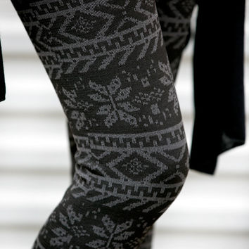 Gray Tribal Snowflake Leggings - Extended Sizing!