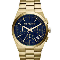 Michael Kors Over-Size Golden/Cobalt Stainless Steel Channing Chronograph Watch