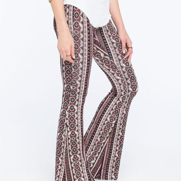 Full Tilt Floral Ethnic Print Womens Flare Pants Rust  In Sizes