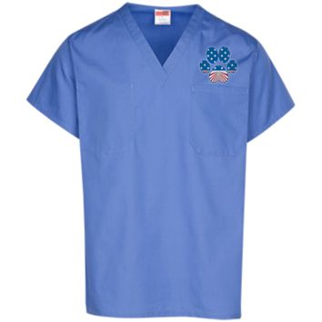 Paw Print Horizon Scrub Top
