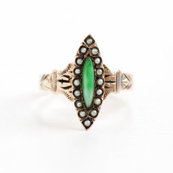 Antique 14k Rose Gold Victorian Jade & Seed Pearl Ring - Late 1800s Marquise Green Stone Etched Fine Jewelry, Size 7 1/4