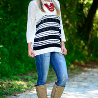 Stripe Out Sweater, Black/White
