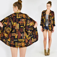 vtg 80s 90s boho black brown ABSTRACT ETHNIC crest novelty print slouchy draped OVERSIZED boyfriend swing blazer jacket S M L