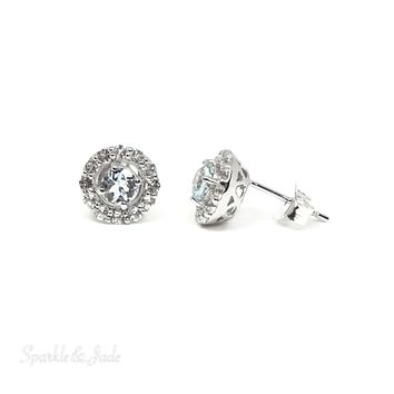 Sterling Silver Genuine Aquamarine & White Topaz Halo 9mm Stud Earrings