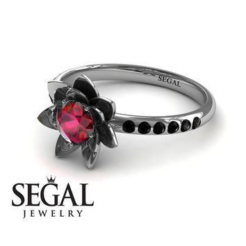 Unique Engagement Ring 14K White Gold Flower Ruby With Black Diamond - Lotus