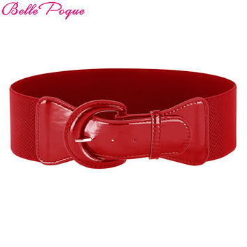 Belle Poque Fashion Women's Wide Belt Faux Leather Buckle Stretchy Elastic Solid Casual Waist Belts Waistband for Ladies' Dress