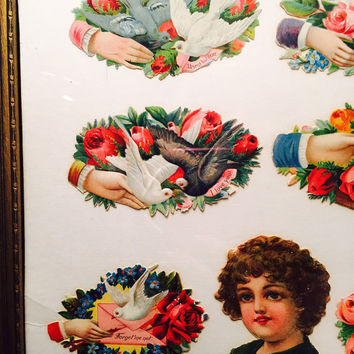 Embossed Victorian Die Cut Stickers Framed Doves Roses Romantic