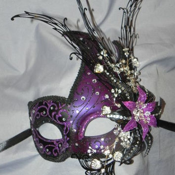 Purple and Black Luna Mask with Metal Flower Detailing