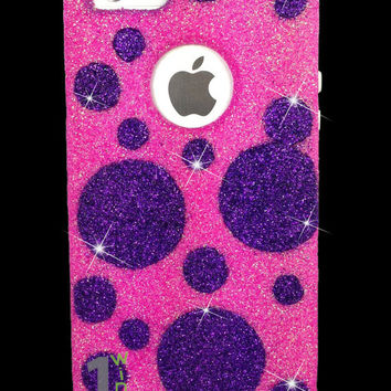 Custom Glitter Design Case Otterbox for iPhone 5 Bubblegum Pink/White Purple Polka Dots