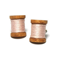 Tiny Spools of Thread Clip On Earrings - Mini Miniature Wood Spools Pale Blush Pink Thread Gold Tone Clips Gift for Crafter Seamstress Sewer