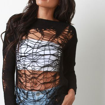 Distressed Semi-Sheer Long Sleeve Sweater