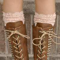 Lace Boot Cuffs - Faux Lace Boot Socks - Faux Lace Leg Warmers - Lace Boot Topper - Faux Knee High Sock - Womens - Champagne