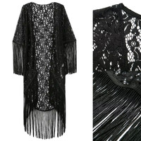 Black Embroidered Lace Fringed Kimono