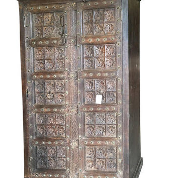 Farmhouse Chic Antique Wardrobe Armoire Lotus Floral Carved Doors Indian Furniture Storage Cabinet NATURAL WOOD Indian Decor Festive Season