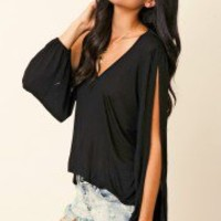 Blue Life - V-Neck Open Bell Sleeve Top