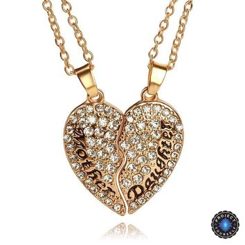 Crystal Studded Two-Part Heart Mother-Daughter Pendant Necklace Set