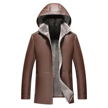 Men's Shearling Jacket Genuine Leather Mens Jacket Luxury Slim Hooded Coat Men Lambskin Fur Coat  Long Outerwear TJ53