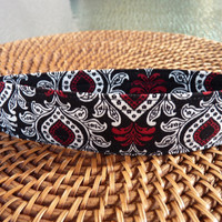 Handcrafted Damask Fabric Key Fob, Key Chain, Key Holder, Key Wristlet in Red, White and Black