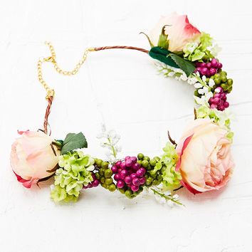 Kimchi Blue Flower Crown in Pink - Urban Outfitters