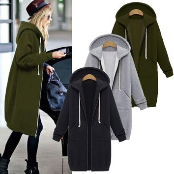 Winter Coats Long Hooded Sweatshirts Casual Pockets Zipper Solid Outerwear Jacket