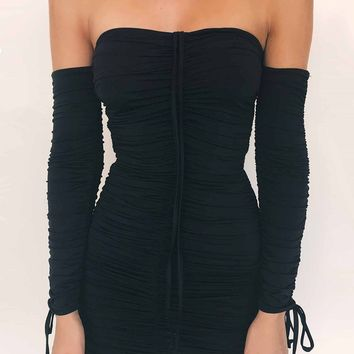 Black Strapless Long-Sleeved Dress