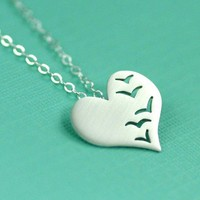 A Flock of Love Birds Necklace in Silver by ANORIGINALJEWELRY