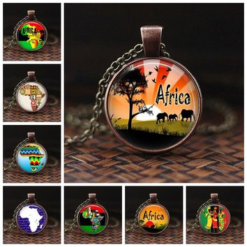 2018 New Fashion Africa Map Necklace Africa Map Pendant Home Town Love Jewelry Personalized Picture Necklace