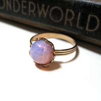 Round Vintage Pink Harlequin Opal Ring - WWII Era - Lace / Scalloped Setting - Gold Plated - Adjustable