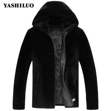 New Arrival Warm Sheepskin Genuine Leather Mens Jacket With Hooded Coat For Male Fashion Chaquetas De Cuero Hombre Blouson Moto