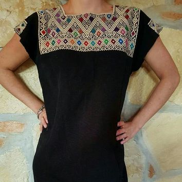Handmade Ethnic Embroidered Mexican Boho Dress