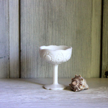 milk glass pedestal compote  // tall footed compote // wedding table centerpiece // cottage shabby chic