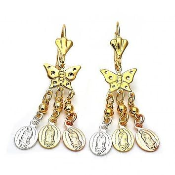 Gold Layered 059.010 Chandelier Earring, Butterfly and Bird Design, Diamond Cutting Finish, Tri Tone