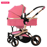 High landscape Safety Brand Baby Stroller 3 In 1 Carriage Basket Travel Infant 4 Wheel Trolley Kids Outdoor Manual Brake Luxury