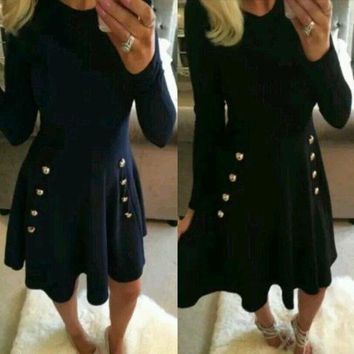 Navy Blue Plain Draped A Line Buttons Double Breasted Elegant Cute Mini Dress