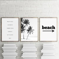 Beach Art Decor Black and White Palm Trees Canvas Print , Beach landscape Canvas Painting Wall Picture Living Room Home Decor