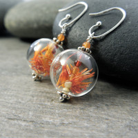 Orange Earrings Botanical Jewelry Sacral Chakra Earthy Safflower Carnelian Stone Red Aventurine Yellow Aragonite Sacred Self Sterling Silver